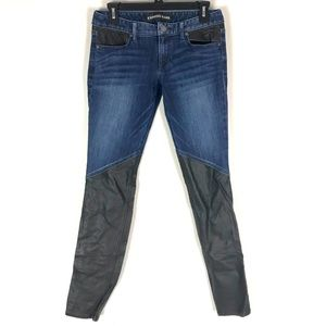 Express jeans faux leather moto skinny jeans